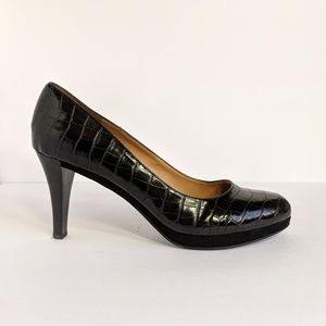 Nine West Ashdown Croc Embossed Leather Pumps 10M